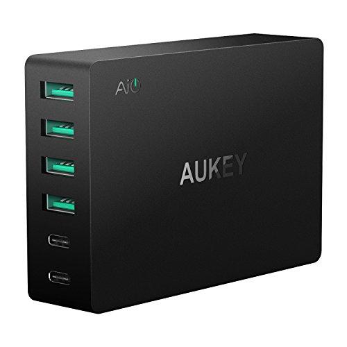 AUKEY USB C Ladegerät 6 USB Ports 60W USB Netzteil für Samsung Galaxy Note / S8 / S7, Nexus 5X / 6P, LG G5 / G6, HTC 10, iPhone X / 8 / 8 Plus, iPad Air / iPad Pro usw.