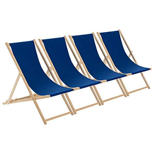 Harbour Housewares Tumbona reclinable y Plegable - Ideal para Playa y jardín - Estilo Tradicional - Azul Marino - Pack de 4
