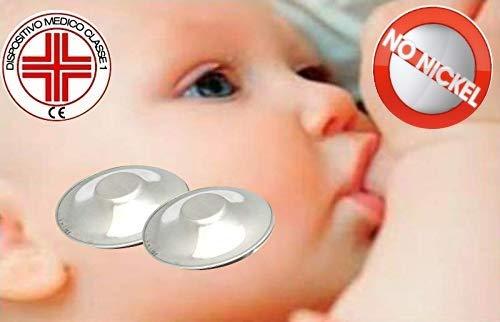 Paracapezzoli Coppette Copricapezzoli in argento puro 999 dispositivo medico classe A1diametro 4 cm. per la protezione del capezzolo prima e durante l'allattamento in caso di ragadi al seno