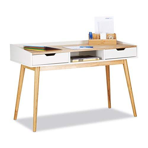 Relaxdays, weiß-braun Schreibtisch, skandinavisches Design, 2 Schubladen, Bürotisch HxBxT: ca. 76 x 120 x 55 cm, Holz, Standard