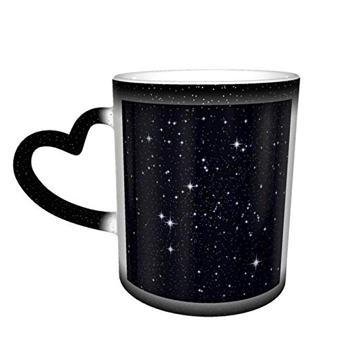 Taza cambiante del cielo estrellado brillante Diseño de la taza Taza de cerámica sensible al calor Taza que cambia de color en el cielo, 11 oz