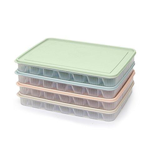 Boulette Box réfrigérateur frais de stockage Couvercle four à micro-ondes décongélation ravioli Box ménagers boulette anti-adhésive Lot de 4 couches) Couleurs mélangées