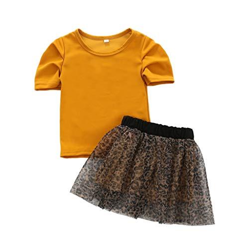 Moneycom❤(12M-5Y Toddler Kid Baby Girls Tops Shirt Imprimé léopard Tulle Tutu Jupe Tenues Jaune(18-24 Mois)