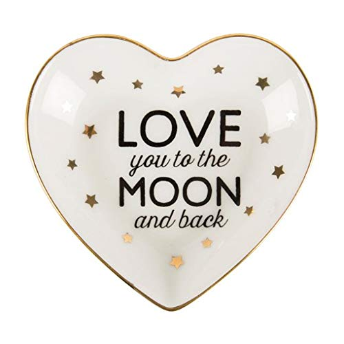 Porzellan Schmuckteller 'Love you to the moon and back' mit goldenen Sternchen