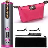 VADRIK Rizador de pelo inalámbrico automático , bolsa de maquillaje rosa. rizador recargable con revestimiento cerámico y 6 posiciones de temperatura