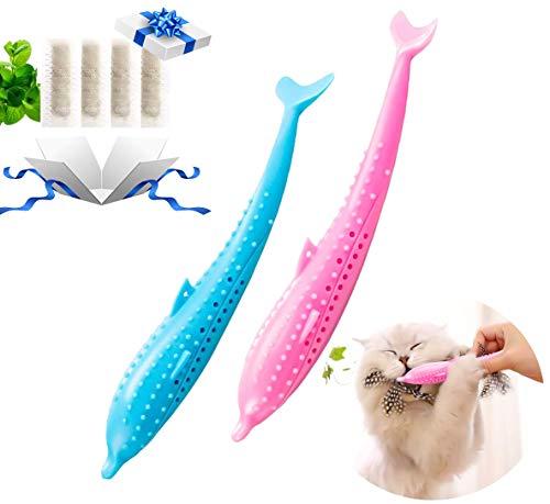 Katze Zahnbürste, 2 Pack Katze Fisch Form Zahnbürste Katze Silikon Fisch Form Katze Zahnbürste Kinderkrankheiten Spielzeug mit Katzenminze Pet Toys Umweltfreundlich Silikon Molar-Stick