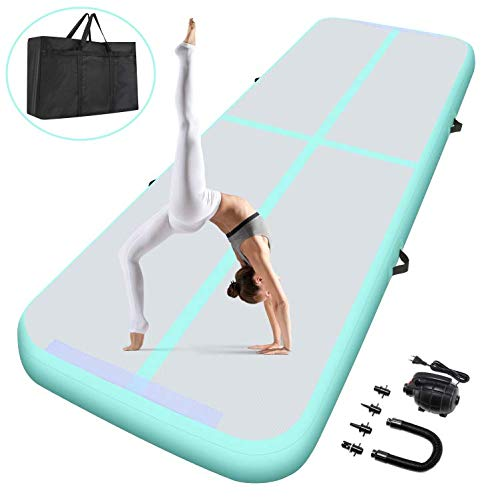 GARTIO 10FT/13FT Air Track Inflatable Gymnastics Tumbling Mat Training Mats 4 inches Thickness Airtrack Mats with Carry Bag, Electric Air Pump for Home Use/Training/Cheerleading/Yoga/Water