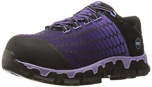 Timberland PRO Women's Powertrain Sport Alloy Toe SD+ Industrial & Construction Shoe, Black Synthetic/Lavender, 9.5