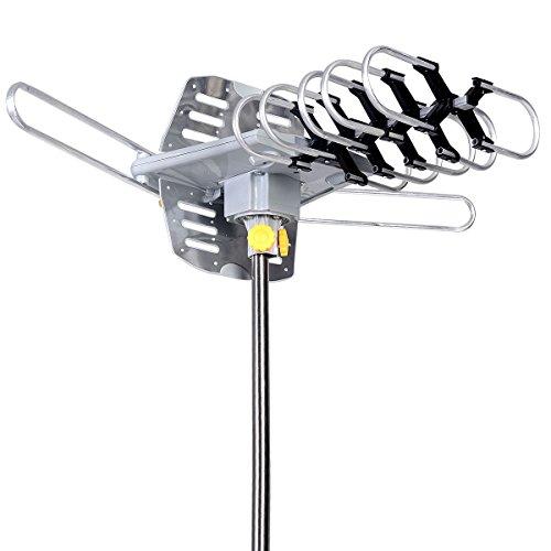 150 Mile 360 Rotor HDTV 1080P Outdoor Amplified Antenna Digital HD TV UHF/VHF/FM