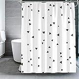 MRBJC Cortinas de ducha, estilo nódico triángulo fondo baño cortinas repelentes al agua, resistente al moho, lavable poliéster accesorio para el hogar con ganchos de cortina blanco 120 x 200 cm