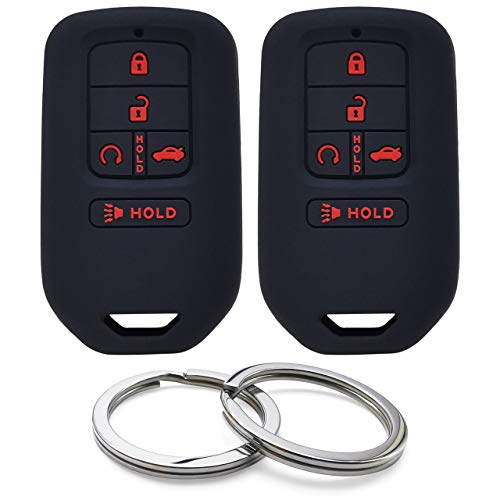 GFDesign 2Pcs Silicone 5 Buttons Key Fob Cover Remote Case Keyless Protector Compatible with Honda Accord Civic CR-V CRV Insight Pilot
