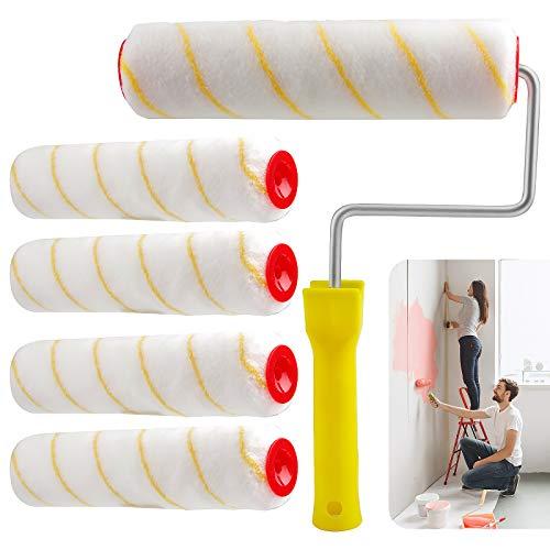 EXLECO 5 x Lackierwalzen 25 cm 12 mm Polyacrylsäure Malerwalze Farbroller-Bügel 8mm Farbroller Set Für Wand und Fassadenfarben