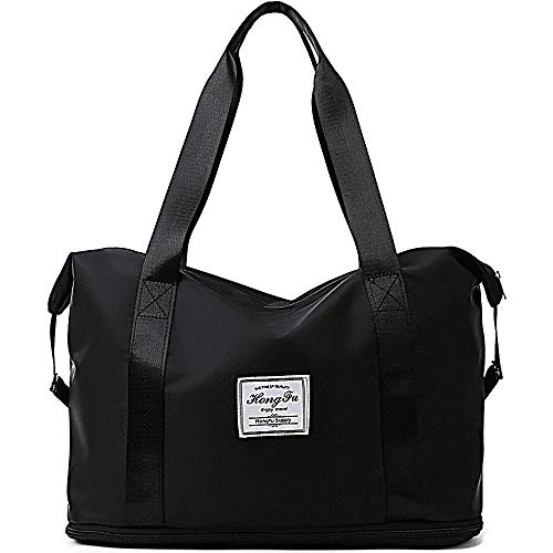 WANYIG Handy Umhängetasche Damen, Nylon Sporttasche Reisetasche Shopping-Bag Wasserfest Handgepäck Einkaufstasche Freizeittasche Weekender mit Nasstasche(Schwarz)