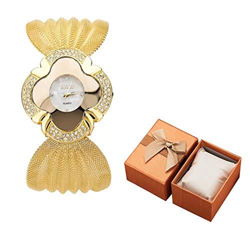 Feilium Elegante orologio a Farfalla in Oro, Classico Elegante orologio da polso al quarzo per Donna, orologi eleganti per Donna, orologio al quarzo di lusso Alla Moda, ottimo Regalo (Oro)