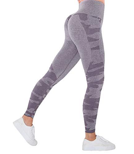 COMFREE Camo Leggings Pantalón Deportivo de Mujer Cintura Alta Compresión Leggings Estiramiento Yoga y Pilates Mallas para Training Púrpura M