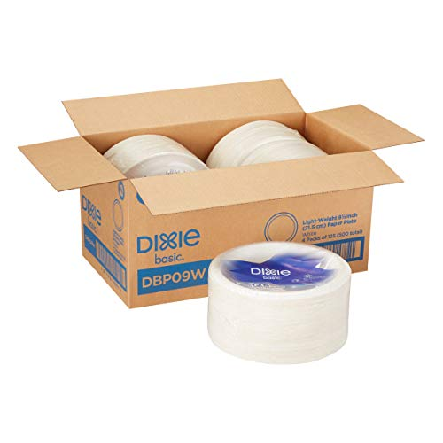 """Dixie Basic 8 1/2"""" Light-Weight Paper Plates by GP PRO (Georgia-Pacific), White, DBP09W, 500 Count (125 Plates Per Pack, 4 Packs Per Case)"""