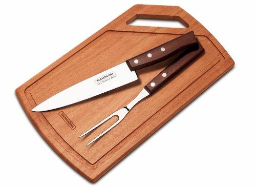 Tramontina 22299/046 Coffret de 3 Couverts à Steak avec Manches en Bois Naturel à 2 ou 3 Rivets