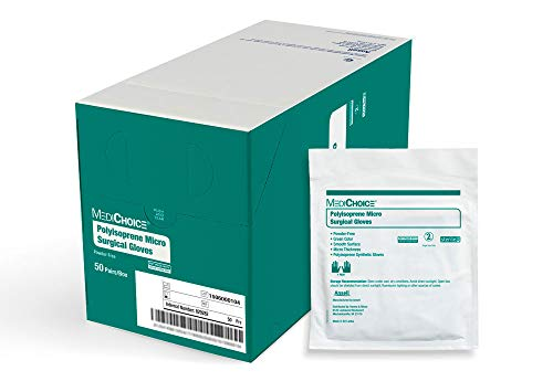 MediChoice Micro Surgical Glove, Synthetic Polyisoprene, 7.9 mil Thick, Powder Free, Sterile, 7.5 Medium, Green, 1314SGL90075 (Box of 50 Pairs - 100 Total)