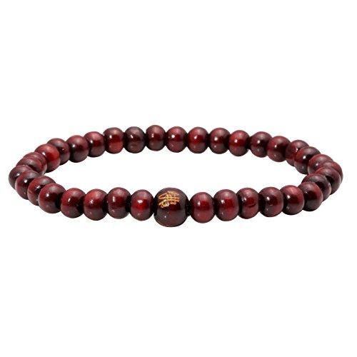 MILAKOO 6mm Wood Beaded Bracelet for Men Women Buddha Bracelet Elastic