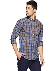 Amazon Brand - House & Shields Men's Checkered Slim Fit Full Sleeve Cotton Casual Shirt