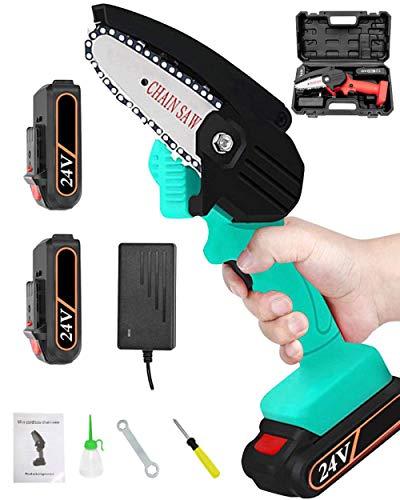 Minimotosierra eléctrica portátil de 4 pulgadas, con batería, para cortar y recortar ramas de jardín, verde