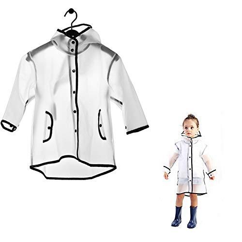 Kids Raincoat EVA Rain Poncho,Portable Hooded Poncho Jacket Rain Coat for Boys Girls Children(M, Age for 3-5)