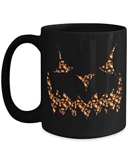 Scary Candlelight Flame Jack O'Lantern Face Coffee Mug - Black Ceramic Cup for Halloween