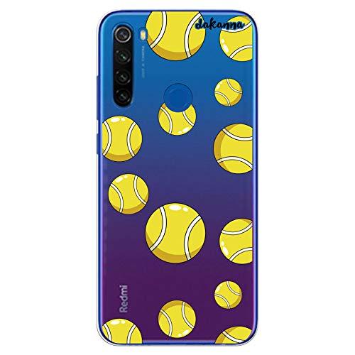 dakanna Funda Compatible con [Xiaomi Redmi Note 8T] de Silicona Flexible, Dibujo Diseño [Pelotas de Tenis], Color [Fondo Transparente] Carcasa Case Cover de Gel TPU para Smartphone