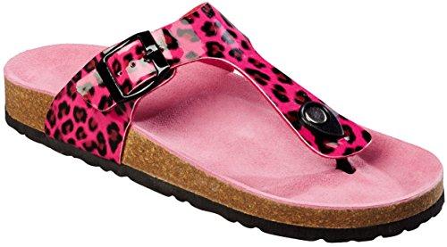 Esmara® Damen Pantoletten (Leopard/pink, Gr. 39)
