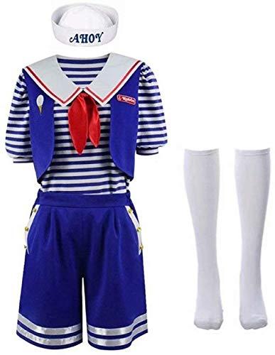 Malaysabah Robin/Steve Scoops Ahoy Disfraz de Halloween para niños Adultos Unisex Stranger Things Season 3 Sailor Role-Play con Accesorios Set