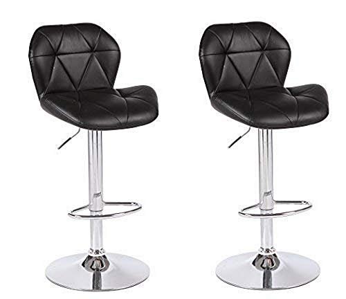 Duramex (TM) Set of 2 Black Height Adjustable Leatherette Star Quilted Saddle Style Seat and High Back Rest 360 Swivel 24 to 33 inch Bar Stool with Chrome Pole & Base with Hard Floor Protection Plastic