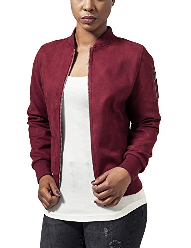 Urban Classics Damen Ladies Imitation Suede Bomber Jacket Jacke, - Rot (burgundy 606) - M