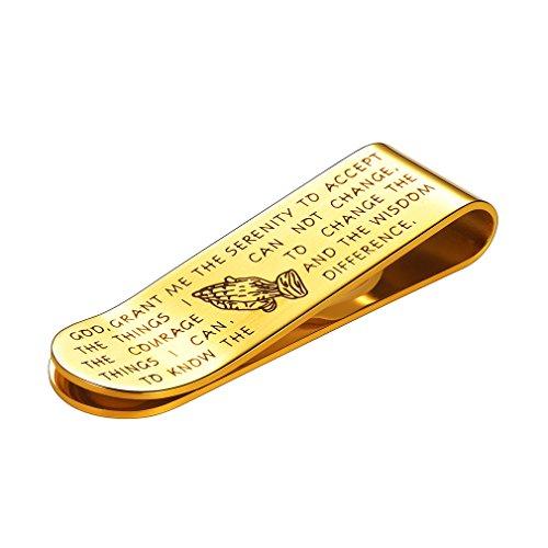 FaithHeart Scheinklammer Gelb Clip Unisex Geldhalter-Geld-Clamp Gold graviert Heiliges Kapitel Anlaufgeschützt Vergoldet