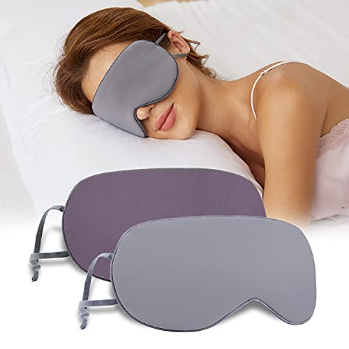 Schlafmaske Damen und Herren, Beidseitig Verwendbare schlafmaske seide, Schlafbrille, Bequemer Schlaf für zu Hause und auf Reisen (Grau/Dunkelgrau + Lila/Rosa) …