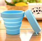Canamite Collapsible Space Saving Pop Up Camping Mug Collapsible Folding Travel Portable Cup With Case Outdoor Sport Silicone Cup for Camping and Hiking - Mini Toothbrush Holder (Blue)