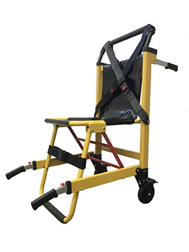 LINE2design EMS Stair Chair 70015-Y Medical Emergency Patient Transfer - 2-Wheel Deluxe Evacuation Chair - Ambulance Transport Folding Stair Chair Lift - Load Capacity: 400 lb. Yellow