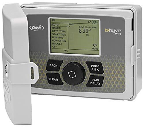 Orbit 94546 - programador 6 estaciones con tapa b-hyve wi-fi, 9 x 24 x 22 cm, color gris