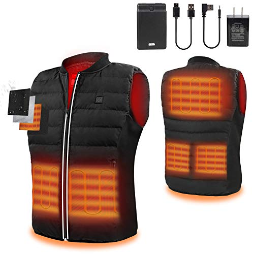 Heated Vest with 12000mAh/3.7V Battery Pack for Heated Jacket Electric Body Warmer Heating Pad for Men Hiking Hunting Motorcycle Riding Golf Camping