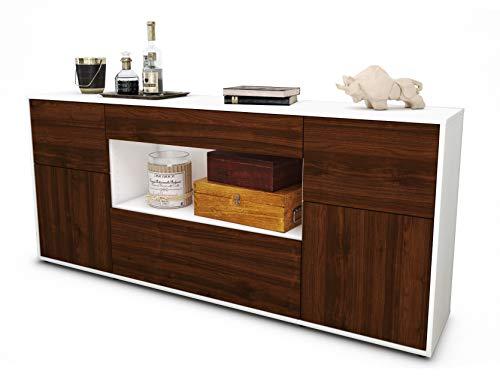 Stil.Zeit Sideboard Fabiola/Korpus Weiss matt/Front Holz-Design Walnuss (180x79x35cm) Push-to-Open Technik & Leichtlaufschienen