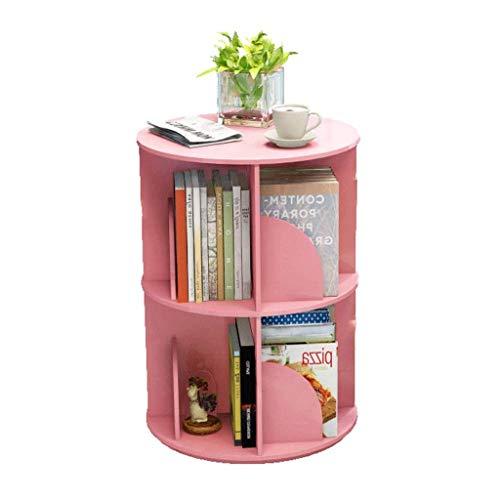 Estante para Libros Librería giratoria Piso Simple Librero 2 Capa Display Stand Home Living Mesa Lateral Mesa Librero (Color : Pink)