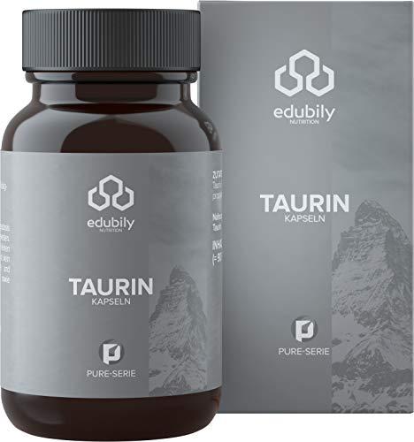 edubily® Taurin Kapseln für 90 Tage • Veganes Produkt ohne unerwünschte Zusatzstoffe • 90 Kapseln in Braunglas zu 100{c0d34595eace98e2952eec2b3869b86c4885e9a2157c5302b4bf544eb6f1c066} recyclingfähig