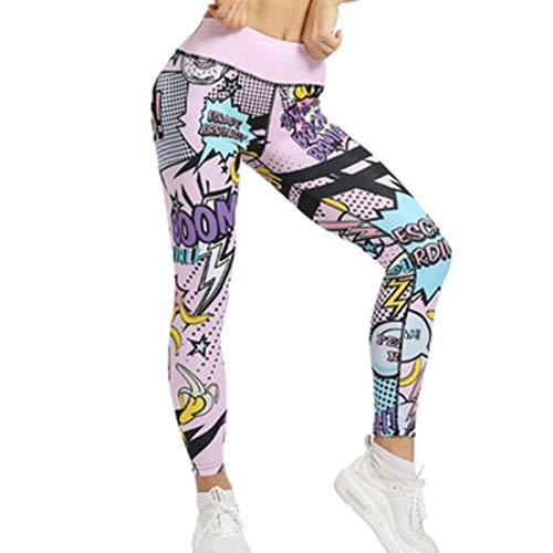 HPPLCute print boom yoga elastische sport legging ademende yoga broek vrouwen hoge taille sport vrouwen fitness hardlopen yoga set, roze broek, M