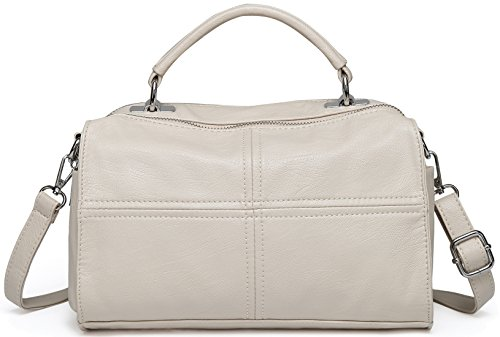 Crossbody Bags for Women,VASCHY Vegan Leather Top Handle Satchel Handbag Fashion Shoulder Bag Purse Beige