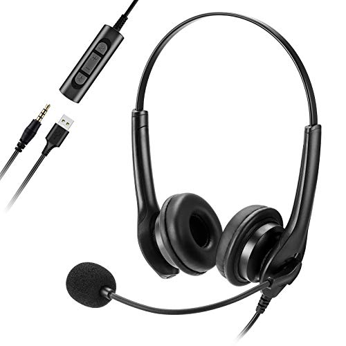 Pukitt PC Headset, 3,5mm Klinke Headset Handy,USB Headset mit Noise-Cancelling-Mikrofon, Chat Headset für Skype, Webinar, Homeoffice, Gaming, e-Learning und Musik, Call Control, Ultra Komfort