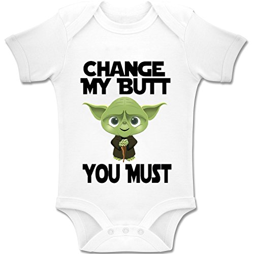 Acen Baby 'Star Wars Inspired Yoda - Change My Butt, You Must' - Baby Bodys / Strampler 100% Baumwolle (0-3 Monate)