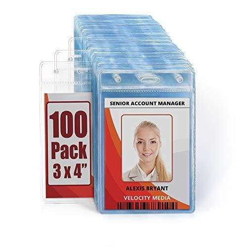 MIFFLIN Plastic Vertical Card Holder (3x4 Inch, Clear, Bulk 100 Pack) Quick Load No Zipper Name ID Badge