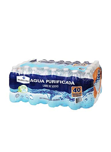 AGUA NATURAL PURIFICADA EMBOTELLADA MEMBERS MARK PAQUETE DE 40 BOTELLAS DE 500 ML C/U OFICINA CASA NEGOCIO HIDRATACION