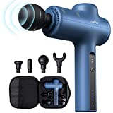 Massage Gun, Roffie Portable Muscle Massage Gun Deep Tissue Handheld Percussion Muscle Massagers for Neck, Back and Shoulder with 4 Massage Heads, Type-C Charging Port, 45dB-Quiet, 0.7 kg, Blue