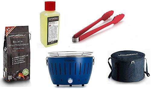 LotusGrill Starter-Set 1x Grill mit USB-Anschluß, 1x Buchenholzkohle 1kg, 1x Brennpaste 200ml, 1x Würstchenzange Feuerrot, 1x Transport-Tragetasche - der raucharme Holzkohlegrill (Tiefblau)