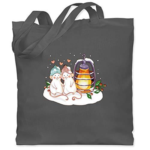 Shirtracer Weihnachten Kind - Weihnachtliche Mäuse mit Laterne - Unisize - Dunkelgrau - laterne dunkelgrau - WM101 - Stoffbeutel aus Baumwolle Jutebeutel lange Henkel
